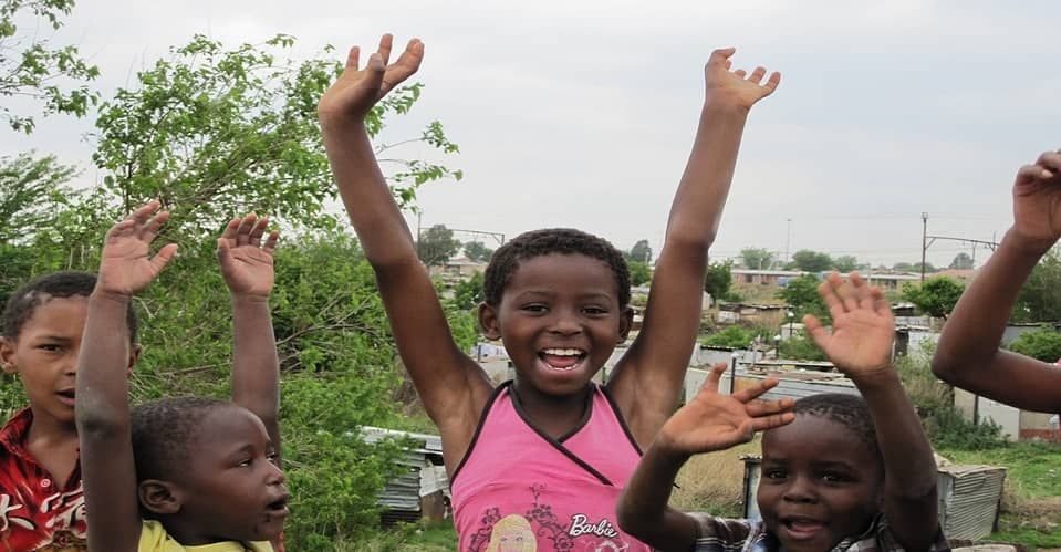 Children from Soweto after dad winning lottery